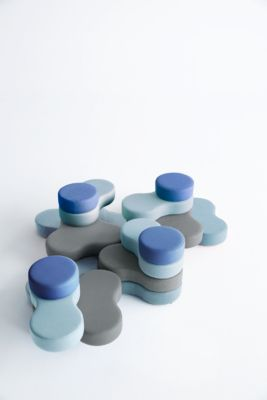 Zitsysteem TAPA Ronde I, stof, modulair, met draaimechanisme, B 800 x H 620 mm, grijs/blauw