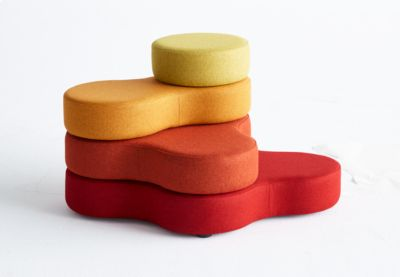 Zitsysteem TAPA Ronde I, stof, modulair, met draaimechanisme, B 800 x H 620 mm, rood/geel