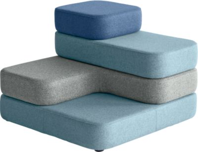 Zitsysteem TAPA Vierkant, stof, modulair, met draaimechanisme, B 900 x D 900 x D 900 x H 620 mm, blauw/blauw, met zwenkmechanisme.