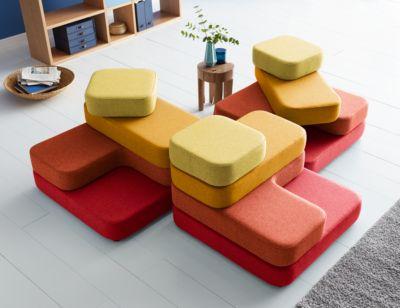 Zitsysteem TAPA Vierkant, stof, modulair, met draaimechanisme, B 900 x D 900 x D 900 x H 620 mm, rood/geel