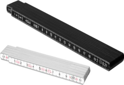 Zollstock, 2m, beidseitig, Kunststoff, schwarz, mit Werbefläche