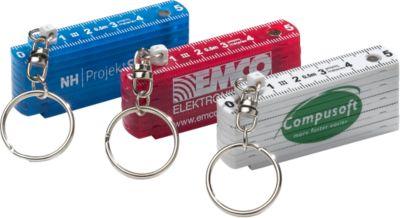 Zollstock Schlüsselanhänger, 50 cm, Kunststoff, weiß