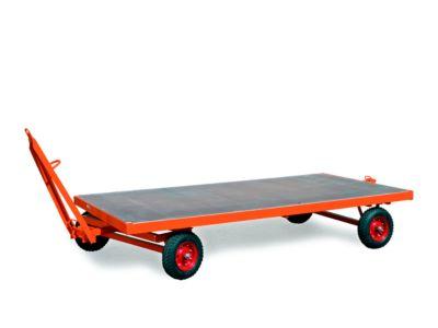 Zware aanhanger, 1-assige draaischamelbesturing, massief rubberen banden, draagvermogen 5000 kg, 2500 x 1250 mm.