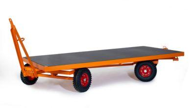 Zware aanhanger, 2-assige draaischamelbesturing, massief rubberen banden, draagvermogen 5000 kg, 2000 x 1000 mm.