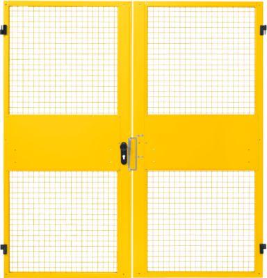 Zweiflügeltüren, für Gittertrennwandsystem, B 2000 x H 2070 mm, gelb