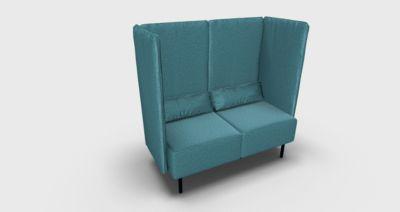 Zweisitzer Dialog, m. Akustikelement, gepolsterte Seiten- und Rückenpaneele, wasserblau