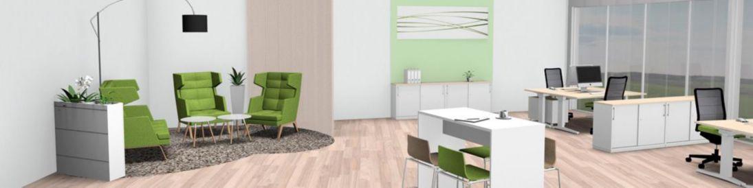 Büro mit Raumaufteilung in verschiedene Arbeitsbereiche