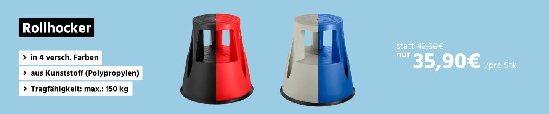 Rollhocker in Grau, Schwarz, Blau und Rot