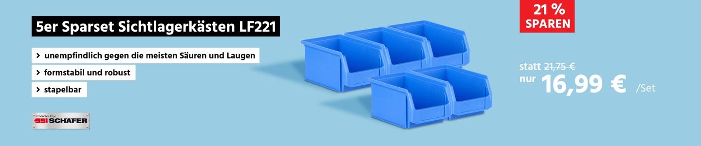 5-er Spartset Sichtlagerkästen SSI Schäfer LF221, PP, L 234 x B 150 x H 122 mm, 2,7 l, Griffmulde & Nuten, blau