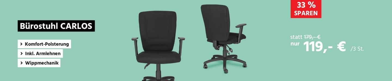 Bürostuhl CARLOS, Permanentkontakt, mit Armlehnen & Lordosenstütze, großer Muldensitz, schwarz