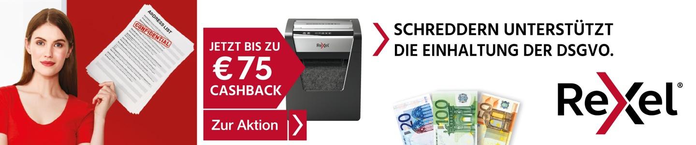 Bis zu 75 € Cashback auf ausgewählte Rexel Aktenvernichter