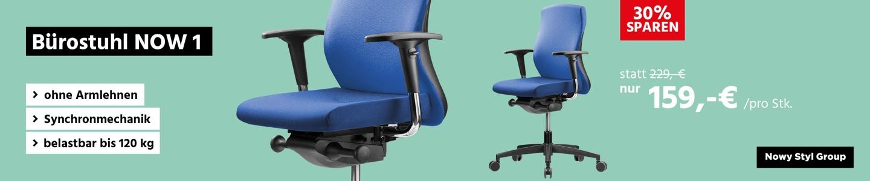 Bürostuhl NOW 1, ohne Armlehnen, Synchronmechanik, belastbar bis 120 kg, blau