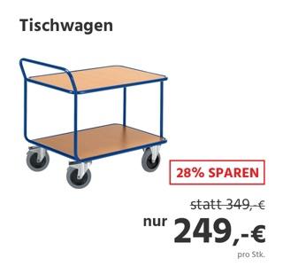 Tischwagen, 2 Etagen, bis 500 kg, TPE-Bereifung, Stahl pulverbeschichtet enzianblau RAL 5010, L 800 x B 500 mm
