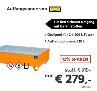 Auffangwanne, für 2 Fässer à 200 l, mit verzinktem Gitterrost, L 1200 x B 800 x H 360 mm, unterfahrbar, Stahl, gelborange RAL 2000
