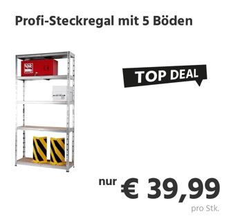 Profi-Steckregal, Stahlblech verzinkt, 5 Holz-Fachböden, höhenverstellbar, B 900 x T 300 x H 1800