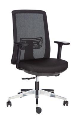 Bürostuhl HIGH BACK, mit Armlehnen, Wippmechanik, profilierter Sitz, Netz-Rückenlehne, schwarz/silber