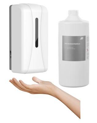 Sparset Desinfektionsmittelspender Hygiene Pro Spray + Händedesinfektionsmittel Ag+, 1000 ml