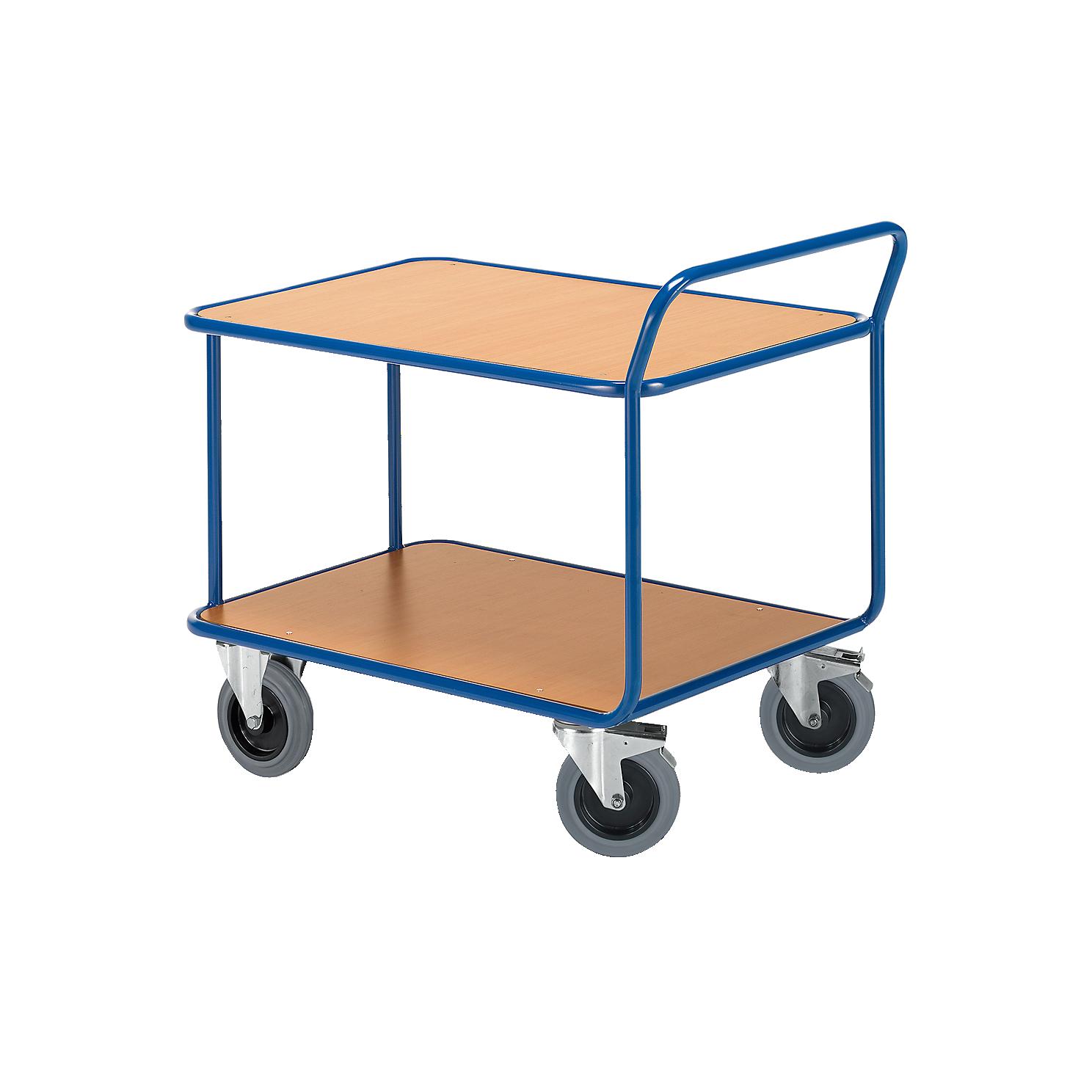 Tischwagen, 2 Etagen, bis 500 kg, TPE-Bereifung
