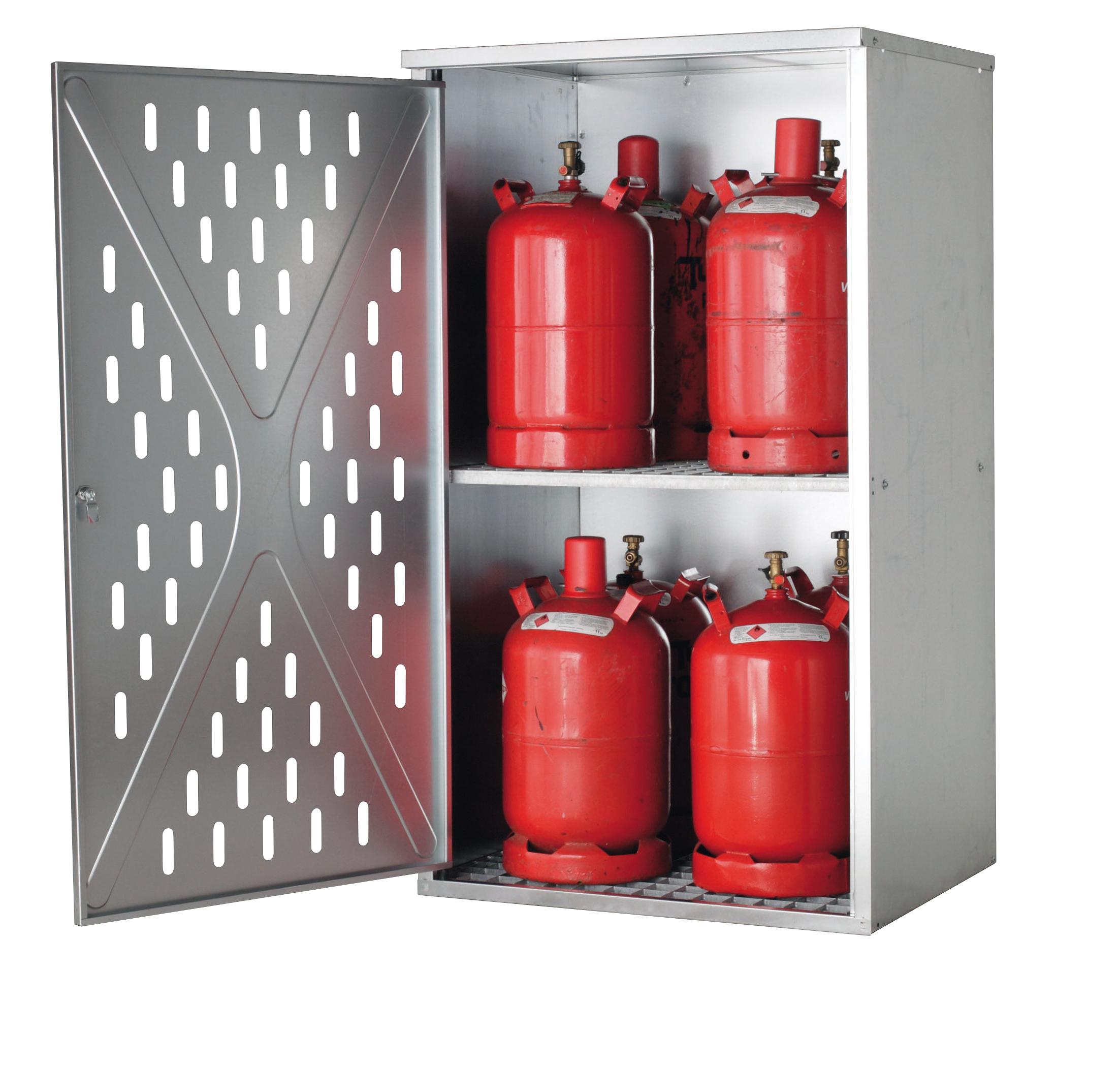 Gasflaschenschrank LG.2845 asecos, für 4 x 33/10 x 11/18 x 5 kg, 1-wandig, für Außen, abschließbar