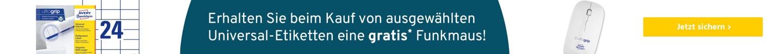 Sparset AVERY® Zweckform Universal Etiketten + Funkmaus ultragrip