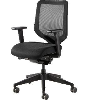 Bürostuhl XT, mit Armlehnen, Synchronmechanik, Netzrücken, Polster-Flachsitz, schwarz