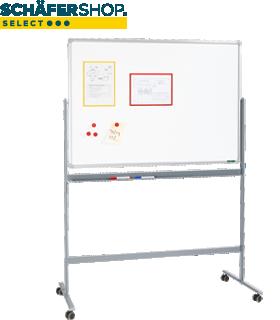 Schäfer Shop Select Mobiles Whiteboard, mit drehbarer Tafel, mit 4 Lenkrollen, 900 x 1200 mm