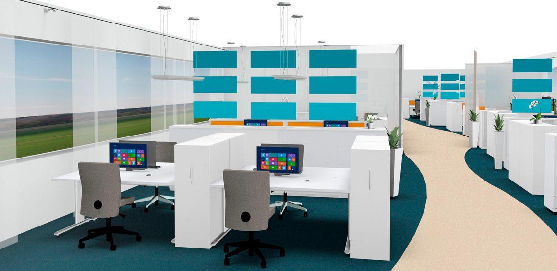 Open kantoorruimte met akoestische elementen