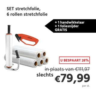 SET stretchfolie, 6 rollen stretchfolie + 1 handwikkelaar + 1 foliesnijder GRATIS