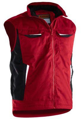 Bodywarmer Jobman 7517 PRACTICAL, gevoerd, rood, polyester/katoen