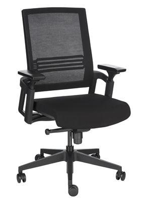 Bureaustoel, met armleuningen, kantelmechanisme, doorlopende zitting, netrugleuning, zwart