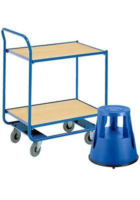 Etagewagen, 2 etages, L 760 x B 520 mm, draagvermogen 150 kg + verrijdbaar opstapje, blauw