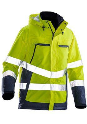 Gevoerde jas hoge zichtbarheid Jobman 1383 PRACTICAL, polyester, normen EN 343 en EN ISO 20471 klasse 3, geel/donkerblauw