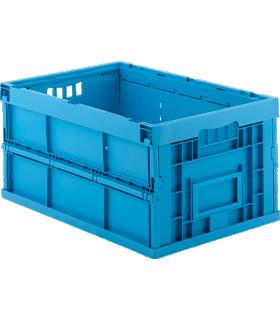Eurobox serie FK 6300, opvouwbaar en stapelbaar, met deksel en handgrepen, volume 58 l, L 599 x B 399 x H 300 mm, herbruikbaar polypropyleen, blauw