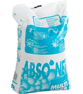 Absorptiekorrel voor olie ABSO`NET MULTISORB - Type III R, bindt tot 26 l per zak, korrelgrootte 0,5-4 mm, 20 kg