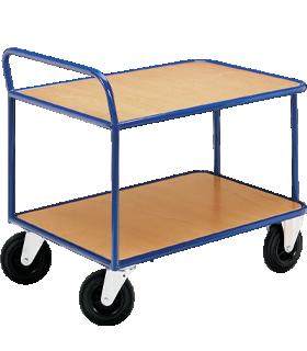 Etagewagen, 2 legborden, tot 500 kg, TPE-banden, gentiaanblauw gepoedercoat staal RAL 5010, L 800 x B 500 mm