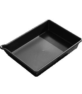 Opvangbak PE, inhoud 16 liter, zonder gaasrooster, L 530 x B 400 x H 100 mm, zwart