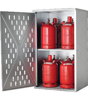Gasflaschenschrank LG.2845 asecos, für 4 x 33/10 x 11/18 x 5 kg, 1-wandig, für Aussen, abschliessbar, B 840 x T 690 x H 1500 mm, Stahl