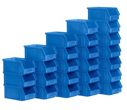 Blauwe open magazijnbakken van hetzelfde formaat op elkaar gestapeld
