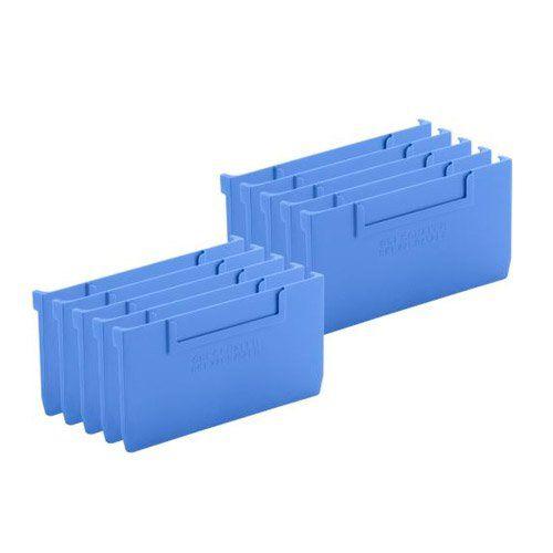 Trennwände für Lagerkästen aus blauem Kunststoff