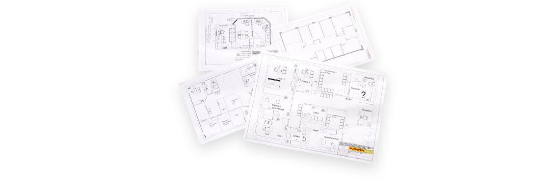 Grundrisse mit detaillierten Planungsskizzen