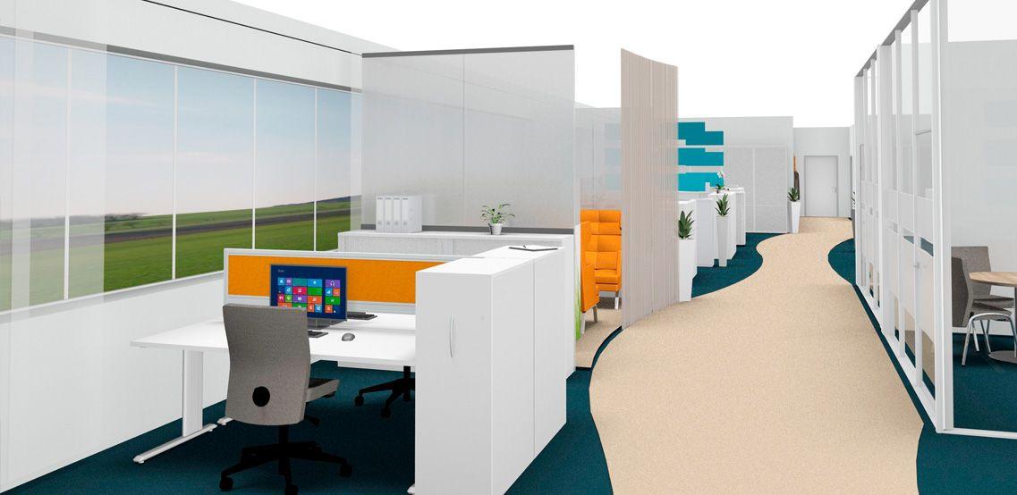 Büro mit unterteilten Arbeitsbereichen