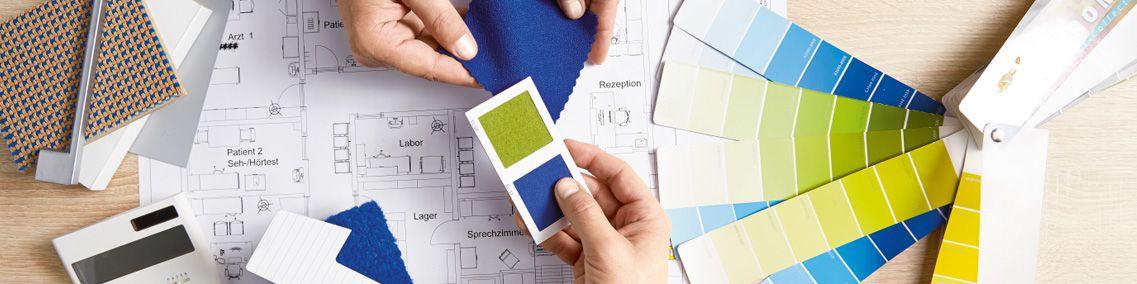 Erstellung eines Farbkonzeptes mit Grundriss und Farbmustern