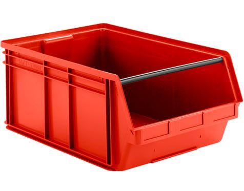 Lagerfix-Kasten aus rotem Kunststoff mit Tragestange