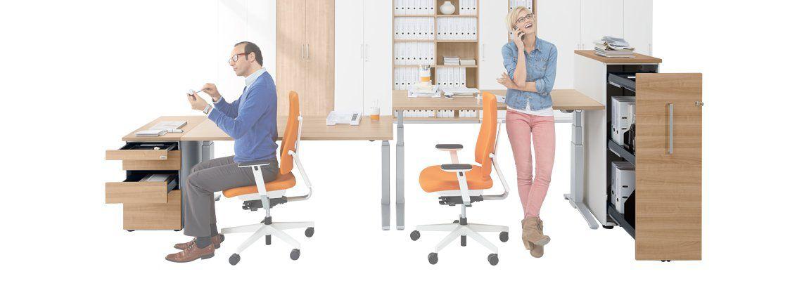 Standcontainer und Hochcontainer im Büro