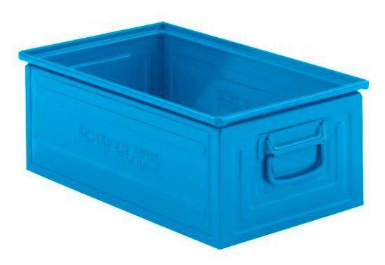Stapelbox 14/6 aus blauem Stahl mit Faltgriffen