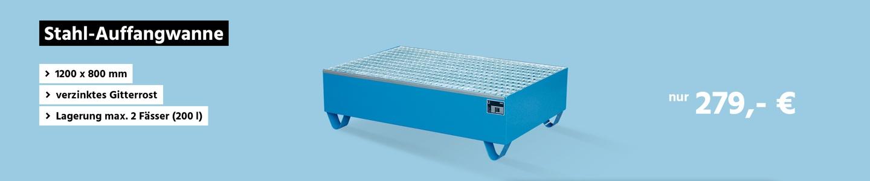 Stahl-Auffangwanne mit Gitterrost, 1200 x 800 mm, blau RAL 5012
