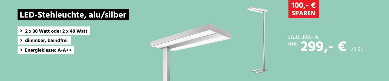 LED-Stehleuchte, alu/silber, 2 x 30W
