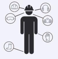 Zur persönlichen Schutzausrüstung gehören Schutzbrillen, Kopfschutz, Gehörschutz, Atemschutz, Sicherheitsschuhe und Handschutz