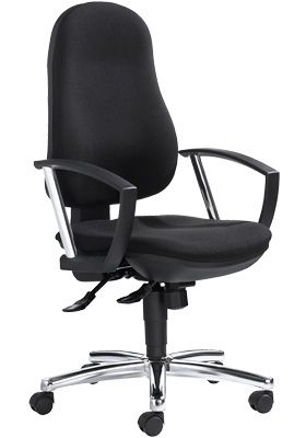 Bürostuhl Topstar POINT DELUXE, mit Armlehnen, Synchronmechanik, Bandscheibensitz, schwarz/chromsilber