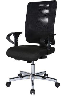 Topstar Bürostuhl OPEN XT, mit Armlehnen, Synchronmechanik, Muldensitz, Netzrücken, schwarz/chromsilber
